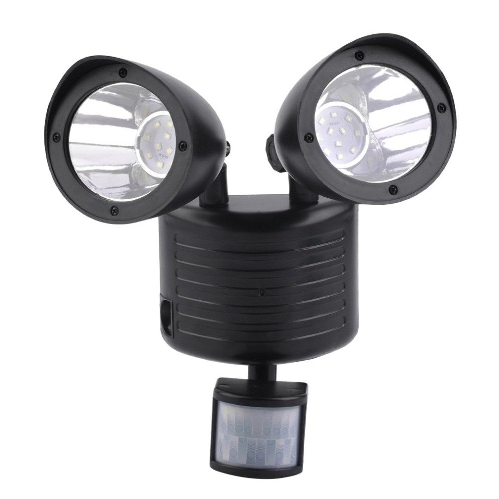 Black High Performance 5.5V/180mA Bright 22LED Solar Powered Motion Sensor Security Light Garden Garage Outdoor Free Shipping
