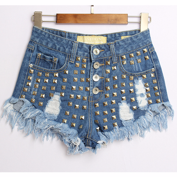 2019 Womens Hot Fashion High Waist Button Fly Punk Rivet Studded Denim Short Shorts For Woman Free Shipping pair of punk rivet studded hoop earrings
