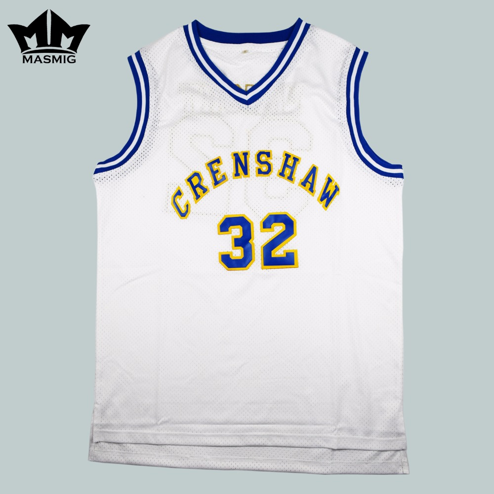MM MASMIG Love and Basketball Monica Wright 32 Crenshaw High School  Basketball Jersey White S-3XL fab94a7ff