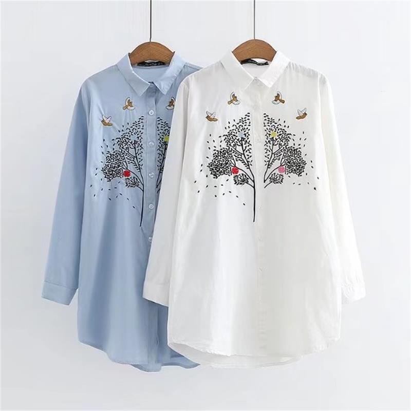 Plus size turn-down collar long sleeve cotton blouses women 2018 Embroidered white & blue shirt Spring & autumn ladies tops 4XL