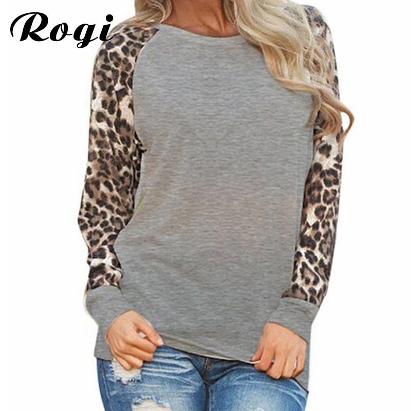 Rogi Leopard женщин Топы корректирующие и Блузки для малышек 2017 Блузка с длинными рукавами в стиле пэчворк рубашка-Туника Футболка Femme blusas mujer плюс Размеры S-5XL