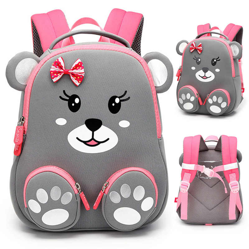 Fashion Kids School Backpack for Girls 3D Lovely Bear School Bags Cute Animals Design Children Backpacks Kids Bag Escolares