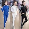 Primavera e no outono conjunto de manga longa das mulheres 2 pcs terno mulheres tamanho Grande casual solto sportswear 2 conjuntos de culottes mulheres