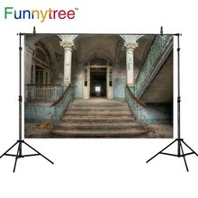 Funnytree backdrop for photo studio old abandoned building Entrance stairs pillar photography background photobooth photocall