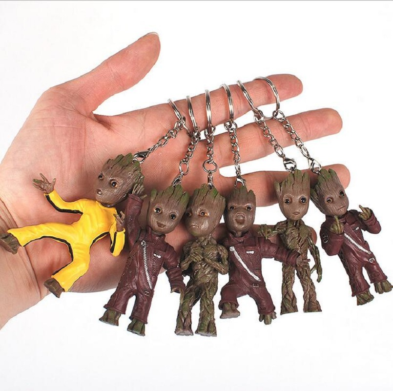2017 new Guardians of Galaxy Vol 2 Tree Man Keychain mini Action Figure toy Key Ring Bag Pendant Kids Gifts Party Supplies