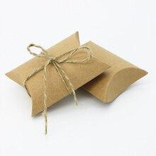 100 Pçs/lote Travesseiro Forma Kraft Branco e marrom de papel kraft Caixa de Presente Do Partido Do Favor Do Casamento Caixa de Doces Por Atacado Dos Doces do Bolinho Carton(China)