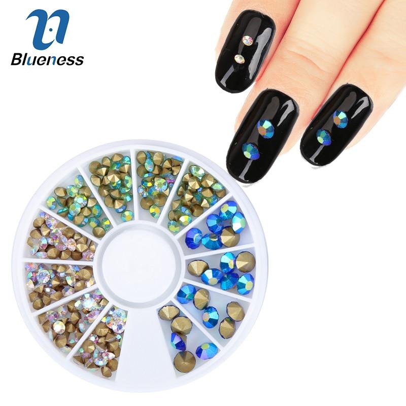 1 Wheel Mixed Color Design AB Rhinestones For Nails Diy Glitter Crystal Decorations 3D Nail Art Charms Studs Supplies ZP268 24 pcs chic mixed pattern design nail art fake finger nails