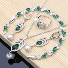 e804855cc32e 925 de plata nupcial perlas conjuntos de joyas verde Natural de las mujeres  pendientes de boda anillo ajustable pulseras collar .