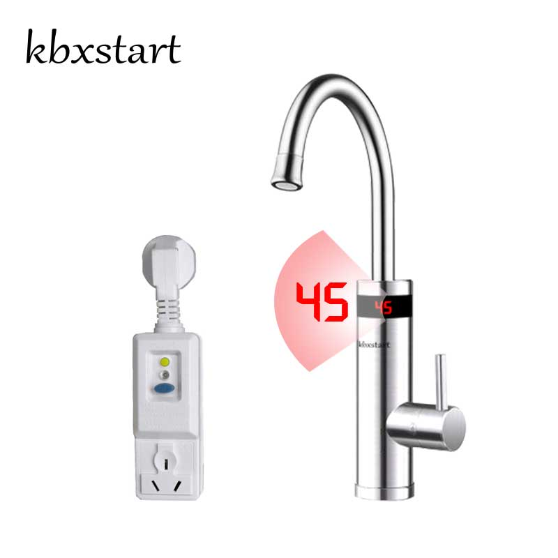 Kbxstart Stainless Steel Kitchen Electric Water Heater Faucet 360 Degree Rotation With Led Display Hot Cold Water Dual Use Tap