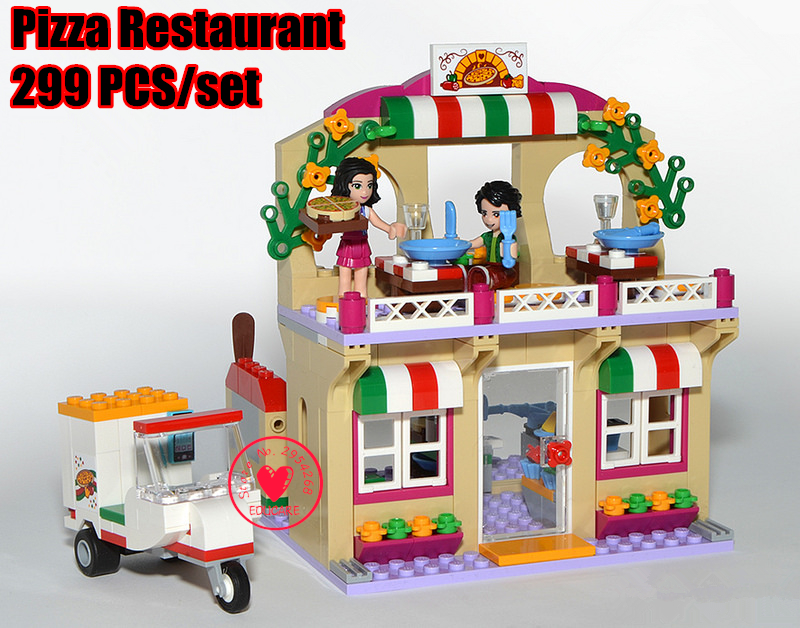lepin Girl Friends Heartlake Pizza Restaurant model Building block brick Toy Children Compatible with lego friends kid gift set lepin 22001 pirate ship imperial warships model building block briks toys gift 1717pcs compatible legoed 10210