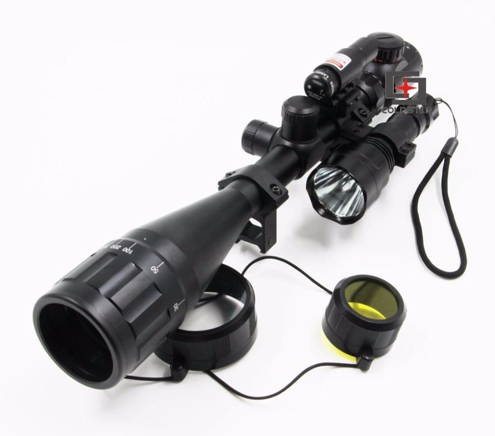 Tactical Riflescope Optics 6-24x50AOE Rifle Gun Scope + 5Mode CREE T6 LED Flashlight C8 Torch Flash Light + Laser Sight Combo anjoet led hunting flashlight 6000 lumens 3 x xml t6 5mode 3t6 torch light suit gun mount remote pressure switch charger