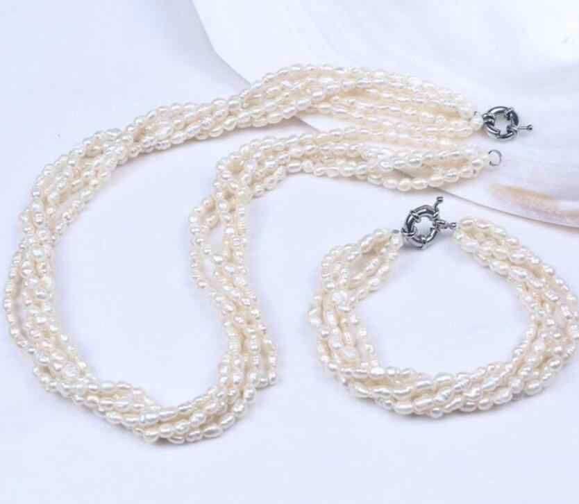 5Row Natural 4-5mm Freshwater Rice Oval Pearl Bracelet Necklace Jewelry Set