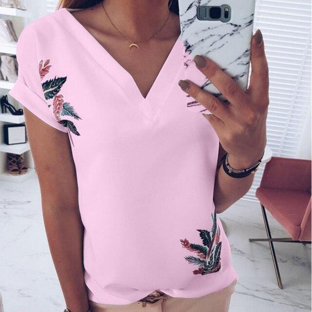 DeRuiLaDy 2019 Summer Women V Neck Short Sleeve T Shirt Fashion Print White Pink Wild Top Ladies Tee T Shirts Tops