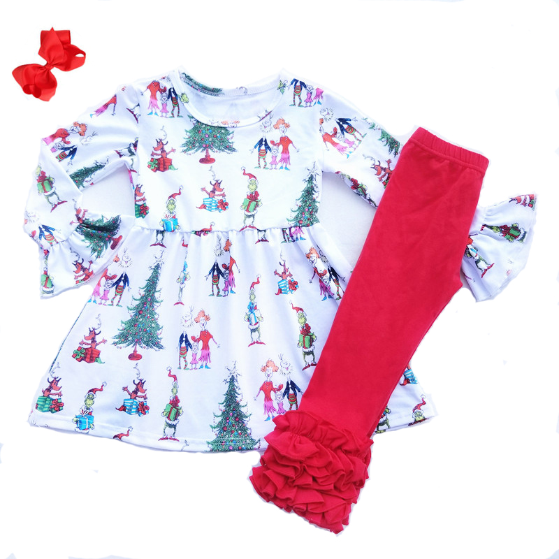 Christmas Grinch and Family Printed Girls Clothing Set Toddler Girls Long Sleeve Milk Silk Top Red Cotton Ruffle Pants Match Bow girls lettuce edge trim ruffle hem pants