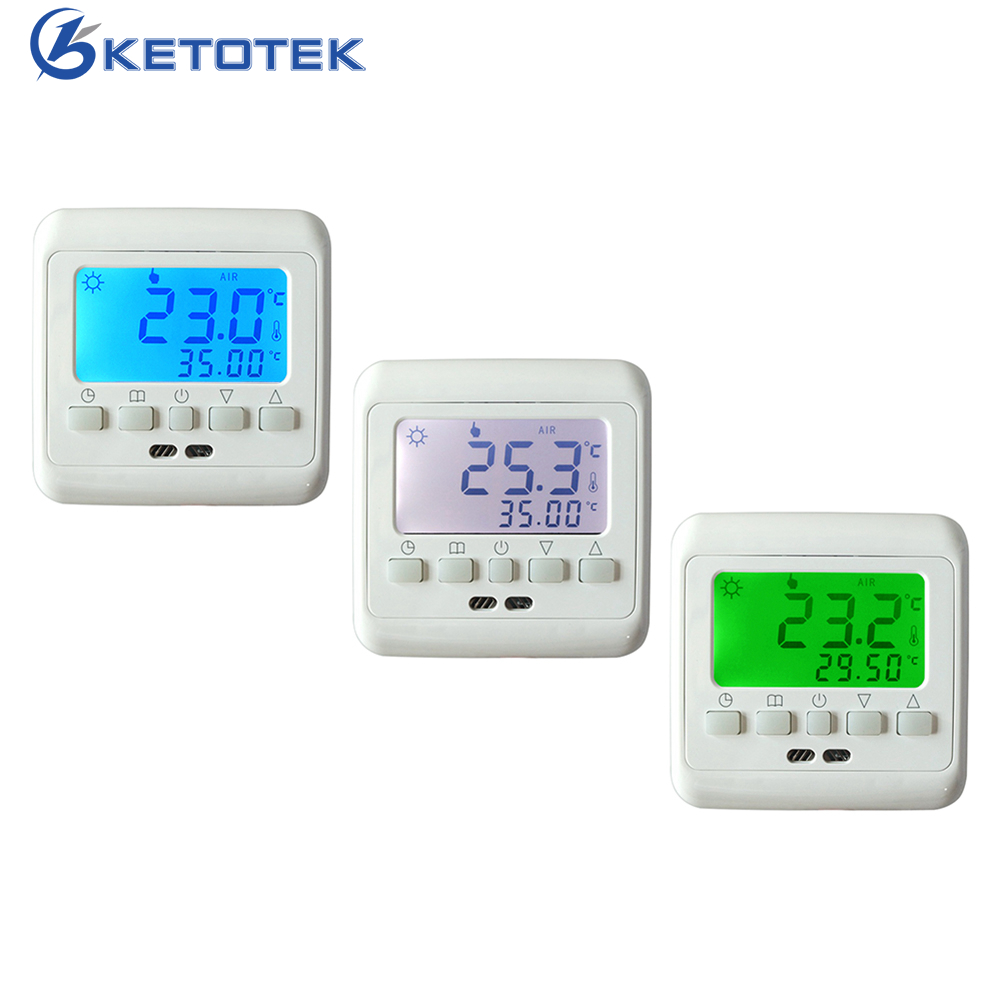 Weekly Programmable Electric Floor Heating Thermostats with Green/Blue/White LCD Display Temperature Controller Room Thermostat 6 1 programmable eu floor heating thermostat room temperature controll with lcd touch