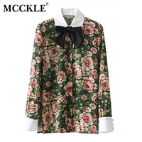 MCCKLE Female Autumn Floral Print Neck Bowknot Laced Up Shirt Women White Collar Patchwork Blouse Blusas