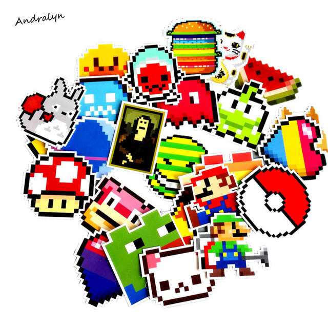 25Pcs lot Cartoon Mario Pixel Style Sticker For Car Laptop Luggage  Skateboard Backpack Tables Case a2a8fda32ae
