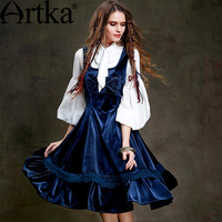 ARTKA Vintage Dress For Women 2018 Ruffle Elegant Dress Female Sleeveless tumn Dress Women Retro Lace Dress Vestidos LA15350Q