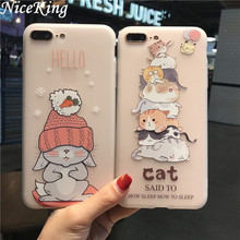 sFor iPhone 6 Case iPhone 7 8 Case Silicone Cute Cartoon Rabbit Cat Matte TPU Soft Back Cover Phone Cases For iPhone 6S 7 8 Plus