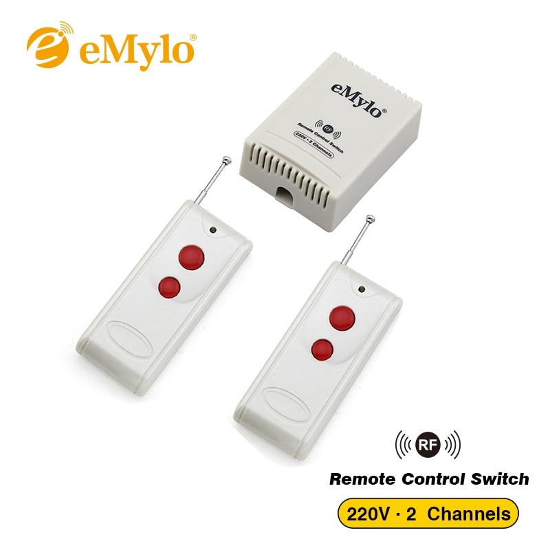 eMylo Switch AC 220V 1000W 10A 2-Channels Relay White Transmitter RF Smart Wireless Remote Control Switch 433Mhz For Light Motor emylo ac 220v 1000w 10a 2 channels relay