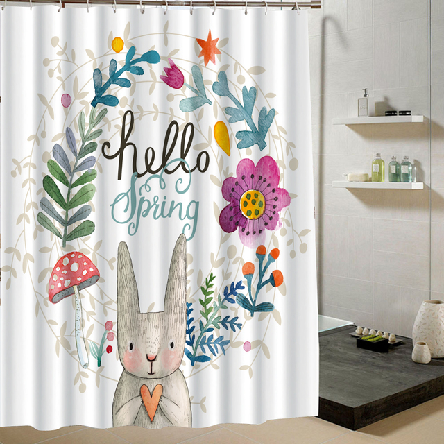 Cute Animal Shower Curtain Rabbit Floral Design Polyster Fabric Bathroom  Curtain White Waterproof Material Set