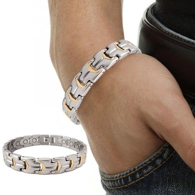 Titanium Steel Magnetic Bracelet Men Satin Finished Gold Plated Hight Magnetic Power Bracelet 2000 Gauss Arthrtis Bracelet Men