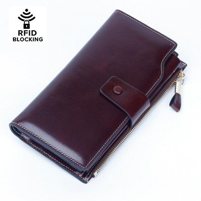 Las mujeres RFID Bloqueo de lujo cera de cuero embrague de cuero genuino tarjeta titular cartera organizador monedero teléfono grande embrague