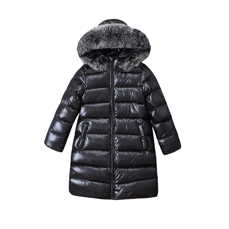 4-8y Children Long Fashion Big Fur Down Jacket For Girls Winter Kids Overcoat 90% Duck Down Boy And Girls Clothes Warm Blouse ruffled button down blouse in black
