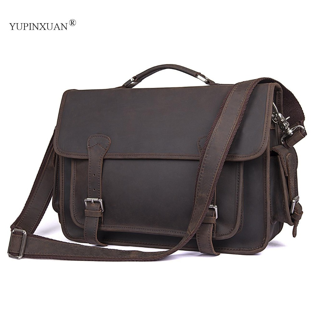 YUPINXUAN Europe Mens Luxury Cow Leather Office Bags Vintage Crazy Horse Brief Cases Large Capacity Handbags Husband Gift Bags yupinxuan dark brown crazy horse leather handbags men first layer cow leather messenger bags high capacity leather shoulder bags
