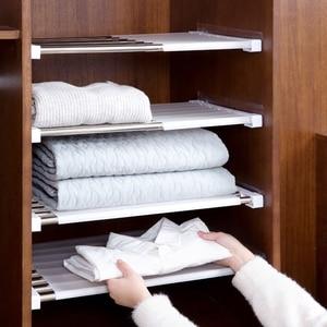 Wardrobe Retractable Storage holder Rack Cabinets Layered partition shelf Kitchen holder bedroom paste type telescopic organizer(China)