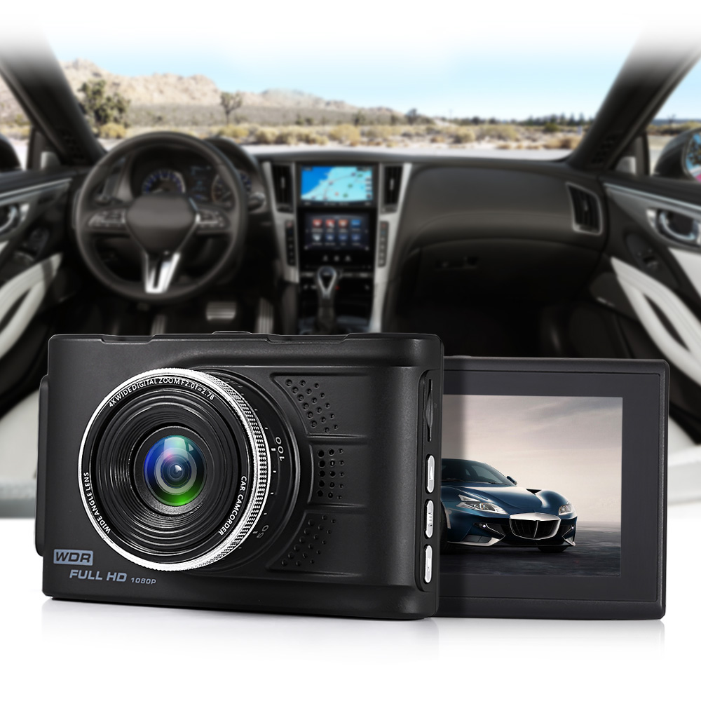 RM - AKL168 3-inch Dash Cam 1920 x 1080P FHD Resolution 120 Degree Lens Driving Recorder Loop Record G-sensor Lock