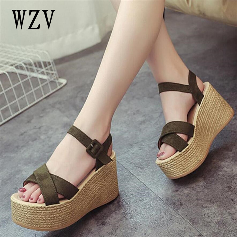 2018 Suede women Gladiator Sandals woman Platform Wedges Summer Creepers Casual Buckle Shoes ladies Sexy Fashion High Heels B349