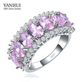 YANHUI Hot Fashion S925 Stamp Silver Rings for Women Luxury Pink Cubic Zircon Ring 925 New Trendy Jewelry Engagement Ring HR010