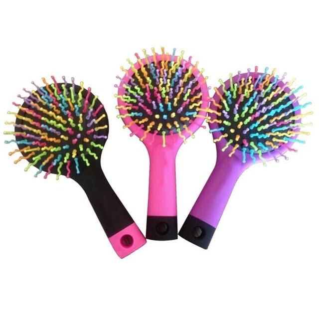 Baby Magic HairBrush Rainbow Head Massager Comb Girls Volume Hair Brush Hair Bath Anti-static Brush Candy Women Comb With Mirror