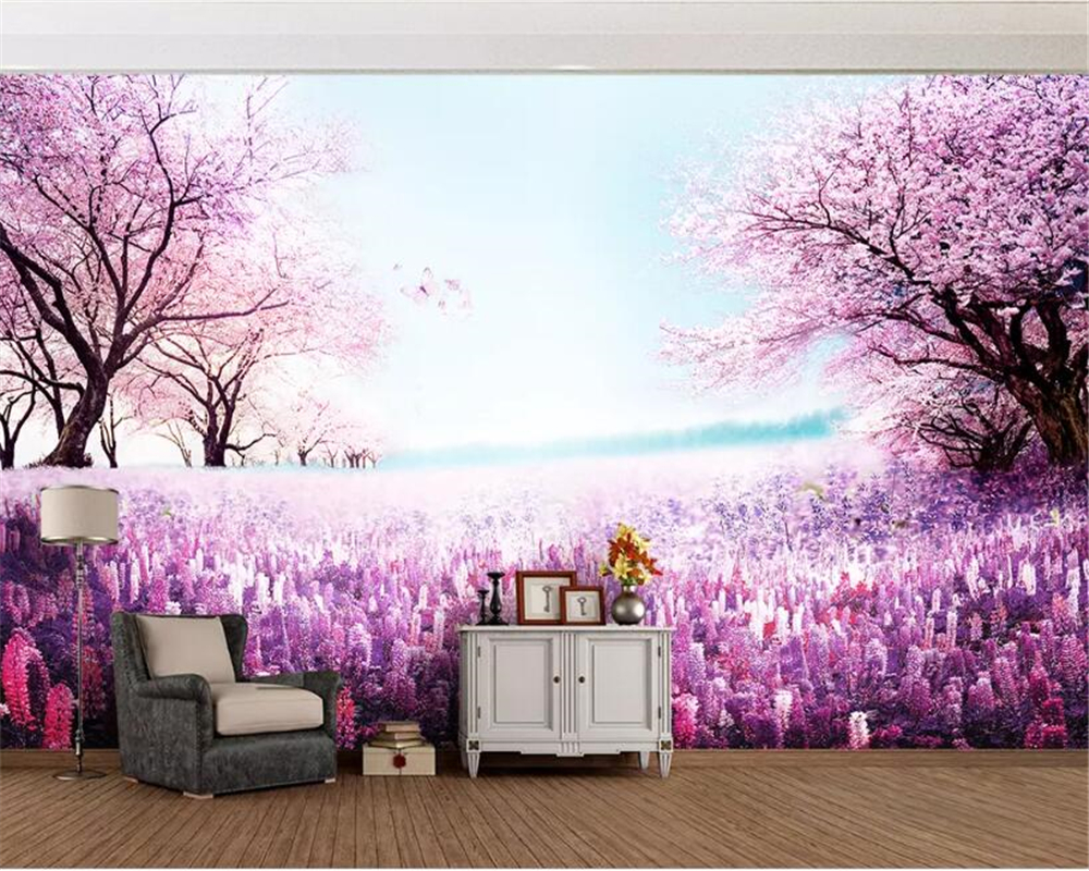 beibehang Custom wallpaper mural Purple romantic lavender cherry tree TV background wall decorative painting 3d wallpaper behang in Wallpapers from Home Improvement