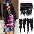 4 Bundles Brazilian Deep Wave Hair with Lace Frontal Closure Brazilian Virgin Hair Deep Wave Human Hair Bundle Deals Frontal Bob