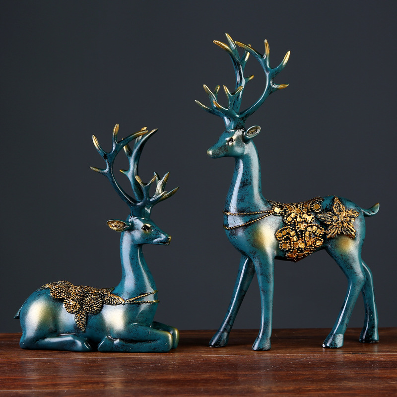 European Style 2 Pcs Resin Deer Figurine Statue Home Living Room Decor Crafts Sculpture Creative Gifts Modern Desktop Ornament