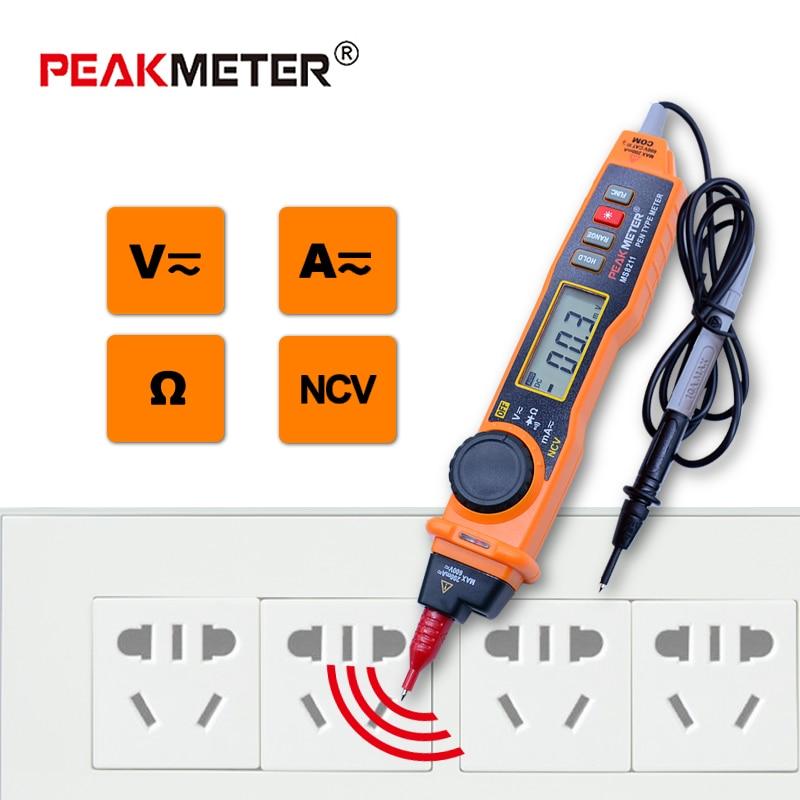 MS8211 Multímetro Digital con sonda PEAKMETER ACV/DCV Eléctrico Handheld Tester Multiprobador digital pen tipo multímetro