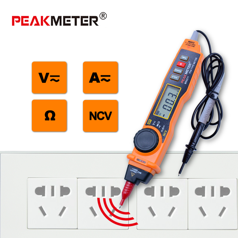 PEAKMETER MS8211 Digital Multimeter with probe ACV/DCV Electric Handheld Tester Multitester digital pen type multimeter lioele les lioele 4 5ml