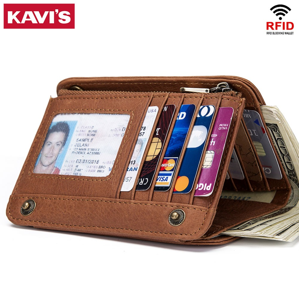 KAVIS Rfid Genuine Leather Wallet Men Male Clutch Bag Coin Purse Walet Portomonee PORTFOLIO Clamp For Money Card Holder Coin Bag