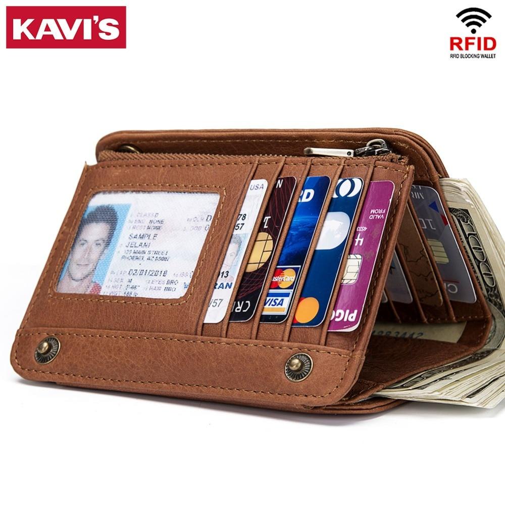 KAVIS Rfid Genuine Leather Wallet Men Male Clutch Bag Coin Purse Walet Portomonee PORTFOLIO Clamp For Money Card Holder Coin Bag
