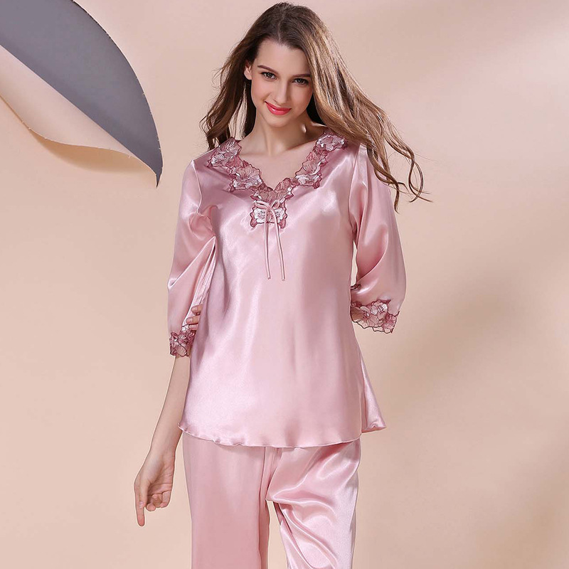 0b52e262b3 Luxury Women s Silk Pajamas Spring Summer autumn Female Lace Nightgown  Embroidered Satin Pyjamas Sleepwear Loungewear-in Pajama Sets from  Underwear ...