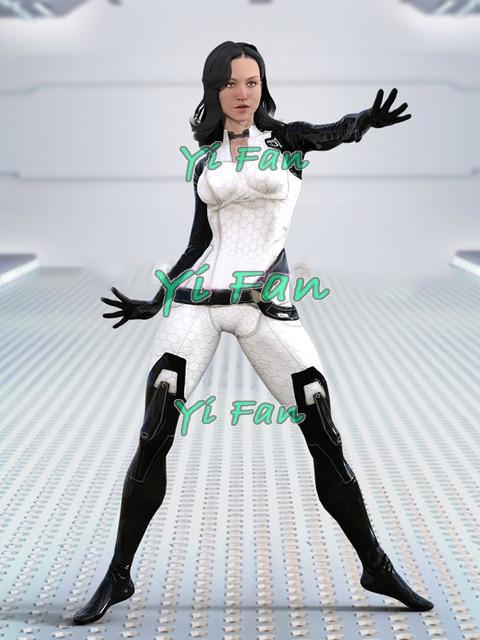 Mass Effect 3 Miranda Lawson Cosplay Costume Elastic 3D Printed Lycra Spandex Halloween Costume Bodysuit Girls Women Custom Made