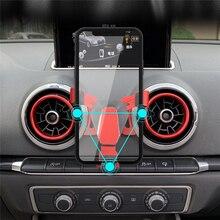 Гравитационный автомобильный держатель телефона на вентиляции для Audi A3 S3 выше, Универсальный Автомобильный gps Кронштейн для мобильного телефона, подставка, вращение на 360 градусов