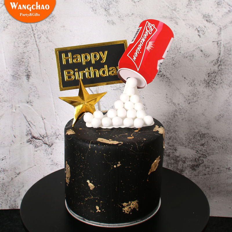 Excellent 3D Beer Fondant Cake Decoration Adult Happy Birthday Cake Topper Personalised Birthday Cards Veneteletsinfo