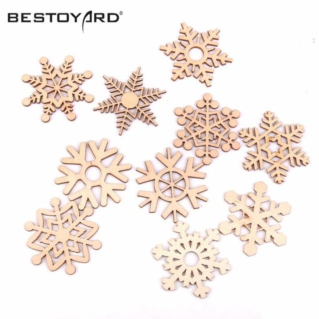 10 stücke Weihnachten Holz Schneeflocken Hängen Ornament Dekoration ...