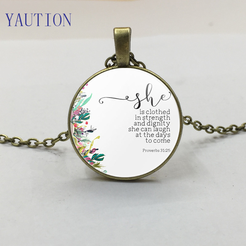 New Religious Jewelry She is clothed in strength and dignity Proverbs 31:25 Necklace Bible Verse Inspirational Women Men Gift