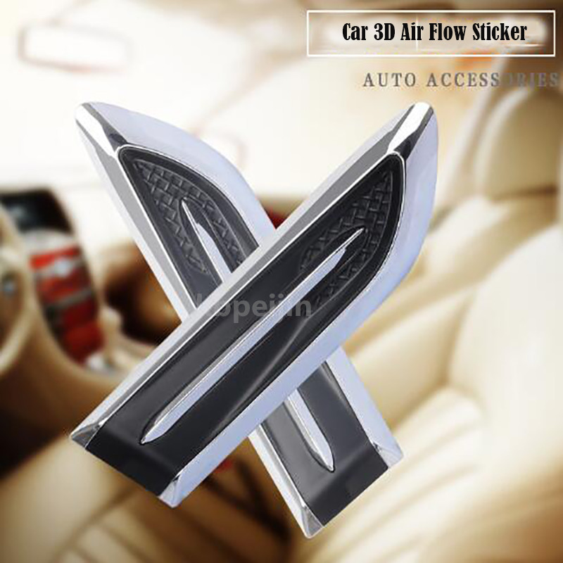2pcs Car Decorated 3D Shark Gills Vent Air Flow Fender Sticker For Saab 9-3 9-5 93 95 900 Jaguar Xf Xe X-type Xj Accessories