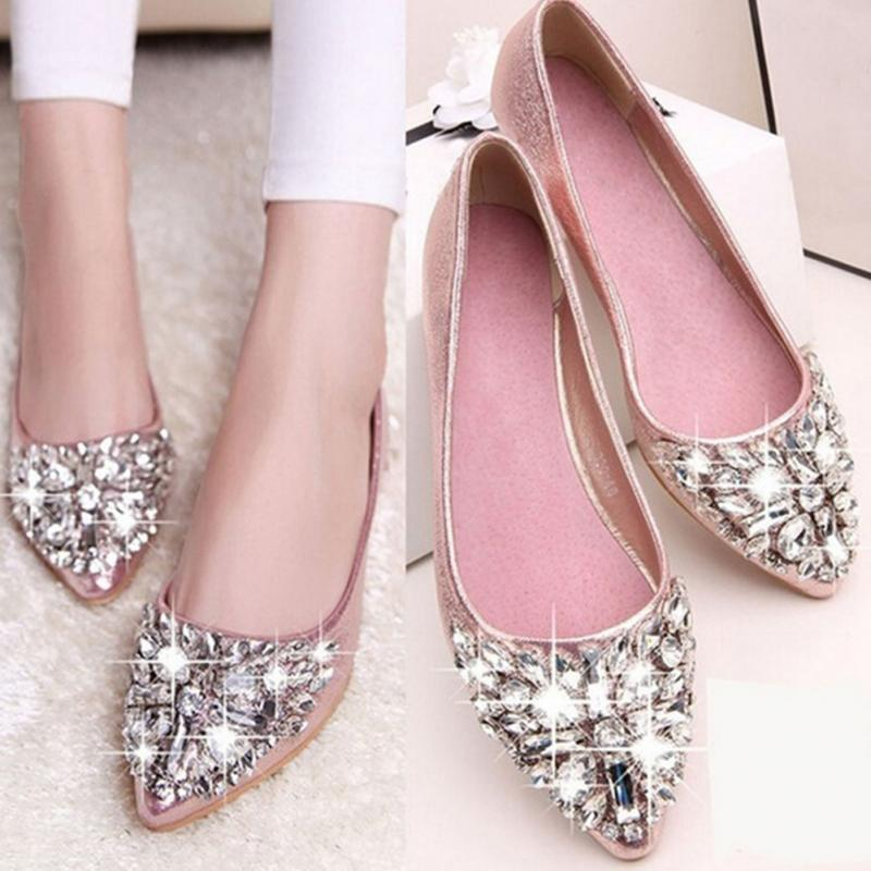 9ce22c7b2b4 Rhinestone pointed toe flat heel shoes woman single shoes women fashion  women flat shoes
