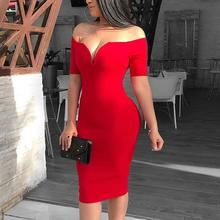 Women Elegant Sexy Red Cocktail Midi Party Dress Solid Off Shoulder Short  Sleeve Bodycon Dress( 8efd562d737f